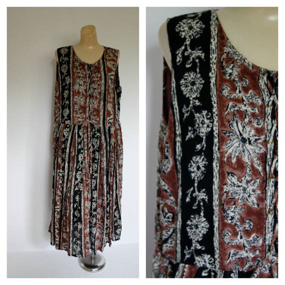 1980s Ethnic Cotton Dress / Vintage Tribal Dress /