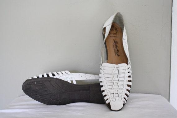 1980s White Huaraches / Vintage Leather Huaraches