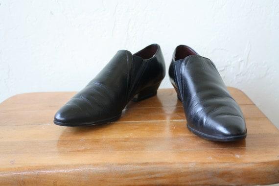 1990 en cheville bottines Western Black faible chaussons Bootie Vintage 6 cheville Noir bottines s en cuir cuir bottines cheville bottines awdqw87