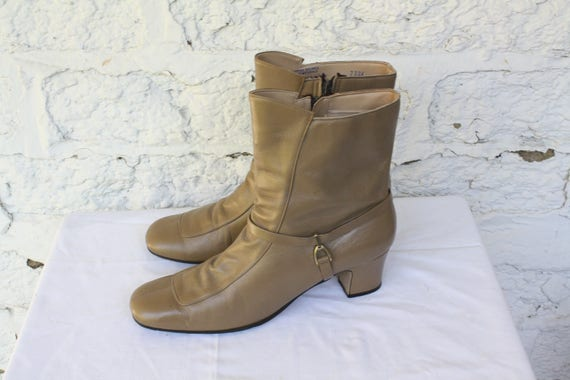 1970s Leather Taupe Ankle Leather Boots Booties 7 Boots Vintage 70s Ankle Boots 7 Mod Boots Hip Leather 5 Boots Vintage Bohemian AAwrqx