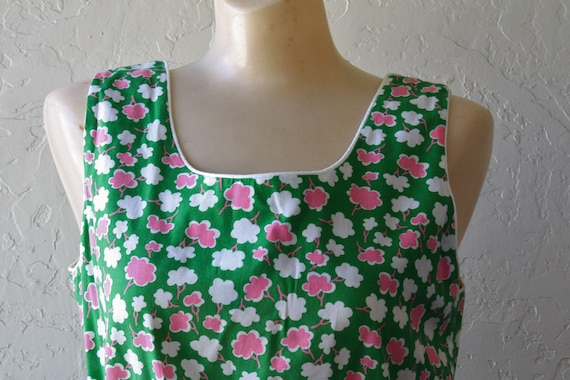 Girl Beach Dress Dress Posies Vintage Dress Pink 1970s M Sundress Sun Deadstock Surfer Summer Dress Green Pocket Sun Dress 7wnxHAzpFq