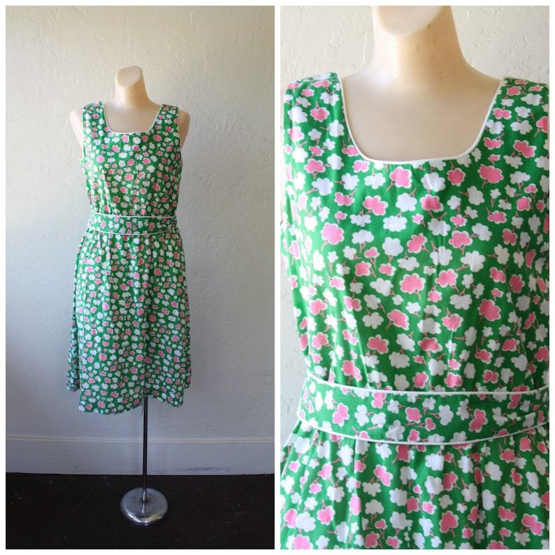 abac777cde 1970s Sun Dress / Vintage Boho Girl Dress / Green Pocket | Etsy