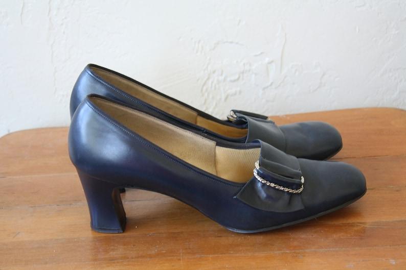 b5af92e901932 1970s Navy Pumps / Vintage Vegan Shoes / 70s Secretaries Heels / Secretary  Office High Heels / Silver Buckle Shoes 7/7.5
