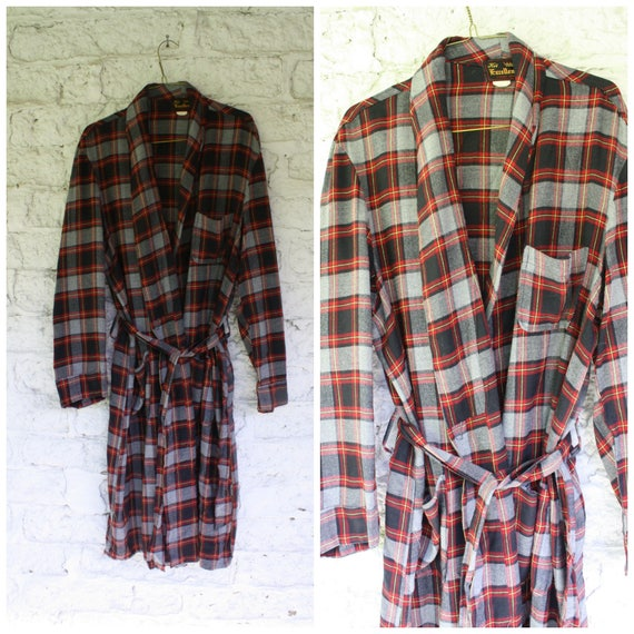 1950s Mens Plaid Robe / Mens Vintage Bathrobe / Bl