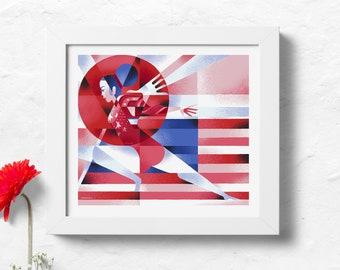 "Sunisa-Lee Inspired Tokyo Olympics 2020/2021 Print - Red, White, & Blue Version 14"" W x 12"" H"