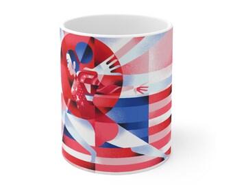 Sunisa-Lee Inspired Red White & Blue Ceramic Mug 11oz