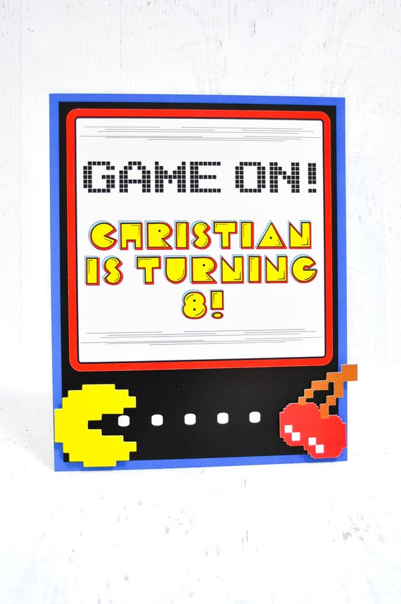 Pac Man Table Sign Party Signage Theme 80s