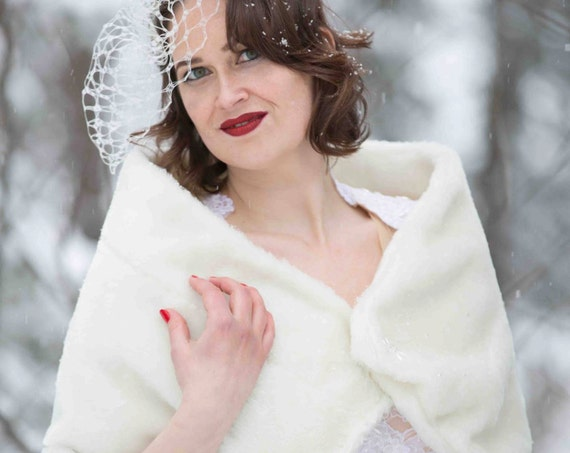 Faux Fur Stole with Beading- wedding wrap, bridal fur shawl in white, ivory or grey