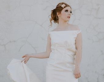 Jacqueline Gown / Off Shoulder Wedding Dress / Silk Taffeta Simple Wedding Dress / Bow / Chapel Train