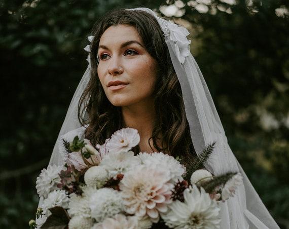 Gia Flower and Beaded Juliet Cap Wedding Veil