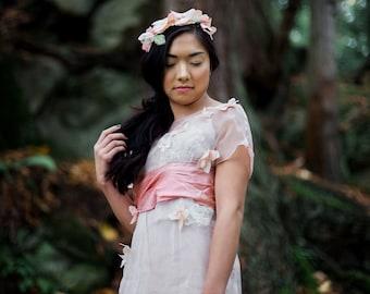 Seraphine Gown / Blush Wedding Dress / Woodland Wedding Dress / Boho Wedding Dress / Flowers and Lace
