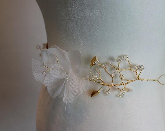 Lily Silk Flower Bridal Belt