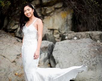 River Gown / Beach Wedding Dress / Low Back Simple Wedding Dress /Criss-Cross Straps / Lace / Beaded / Silk Satin / Mermaid