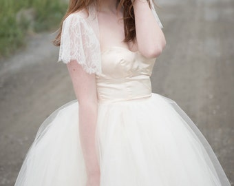 Marie Lace Jacket / Flutter Sleeve / Lace Wedding Dress Jacket / Bridal / Ivory / Black / Champagne