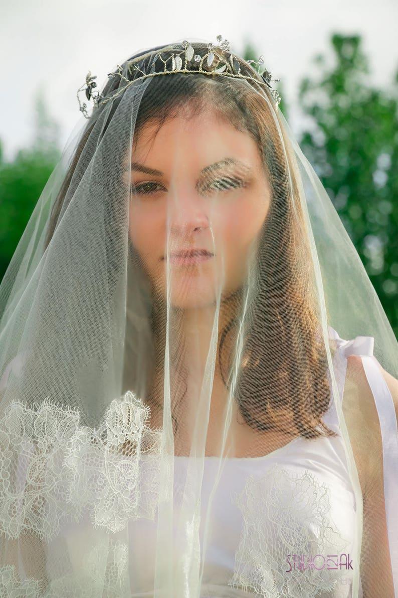 Snow Queen Bridal Crown  Jeweled Bridal Crown  Halo Headband  Crystal Tiara