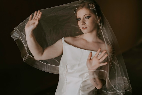 Ready to Ship Monica Tulle Bridal Drop Veil with Horsehair Trim