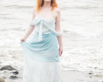Aire Two Piece Gown / Ethereal Silk Wedding Dress / Cinderella Blue Corset Dress / Off Shoulder Wedding Dress