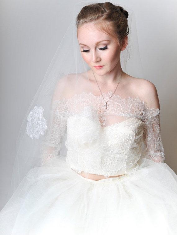 Lila Off Shoulder Lace Bridal Jacket