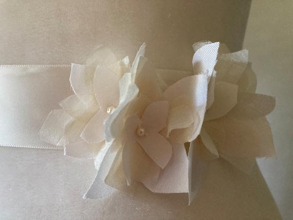 Silk Taffeta and Peace Silk Flower Sash