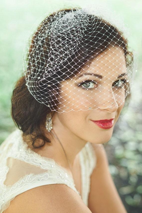 Classic Birdcage Veil with Swarovski Crystals