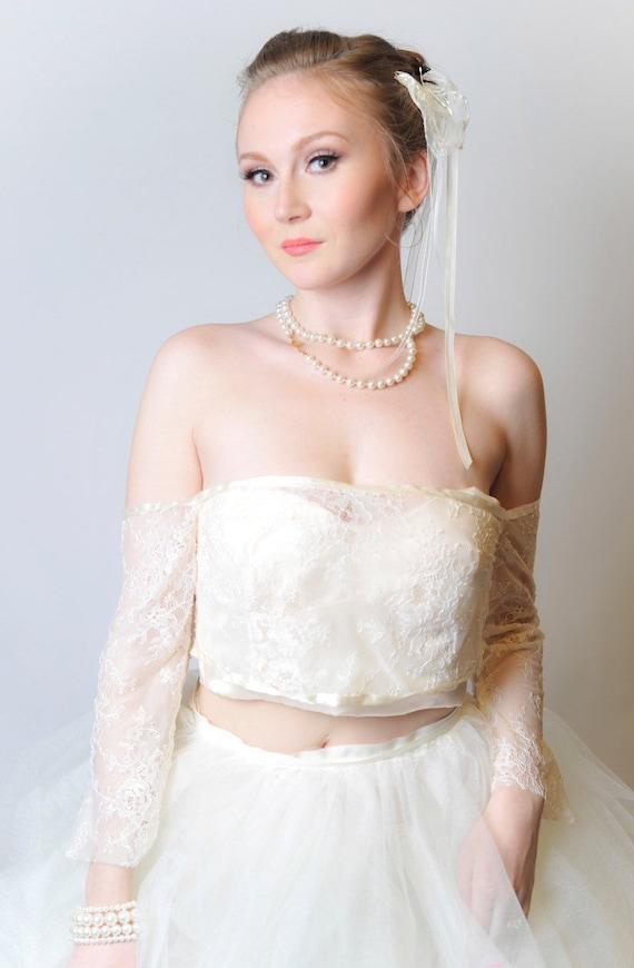 Gillian Lace Bridal Jacket with Ribbon Detail