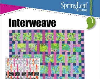 Interweave PDF Quilt Pattern, Great for large scale prints,  Baby, Throw, Twin and Queen sizes