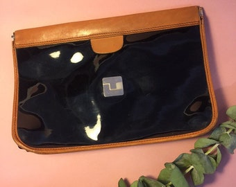 1f45383bba41e Ted Lapidus vintage handbag clutch black patent leather and brown leather
