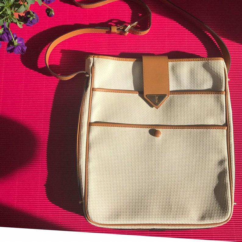 3e3c9ad61fc Yves Saint Laurent vintage shoulder bag beige pvc fabric and   Etsy