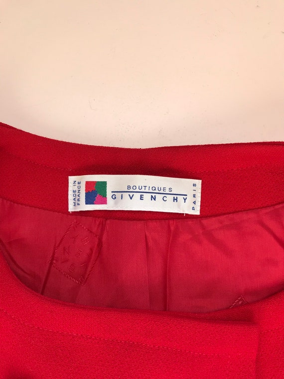 Givenchy beautiful vintage 60's style red wool wo… - image 7