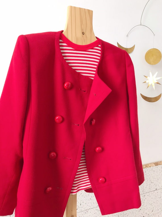 Givenchy beautiful vintage 60's style red wool wo… - image 5