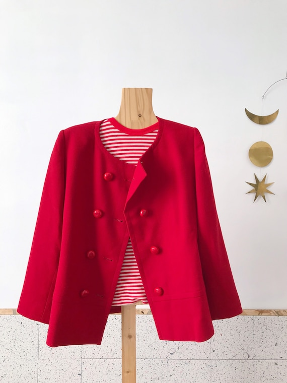 Givenchy beautiful vintage 60's style red wool wo… - image 6