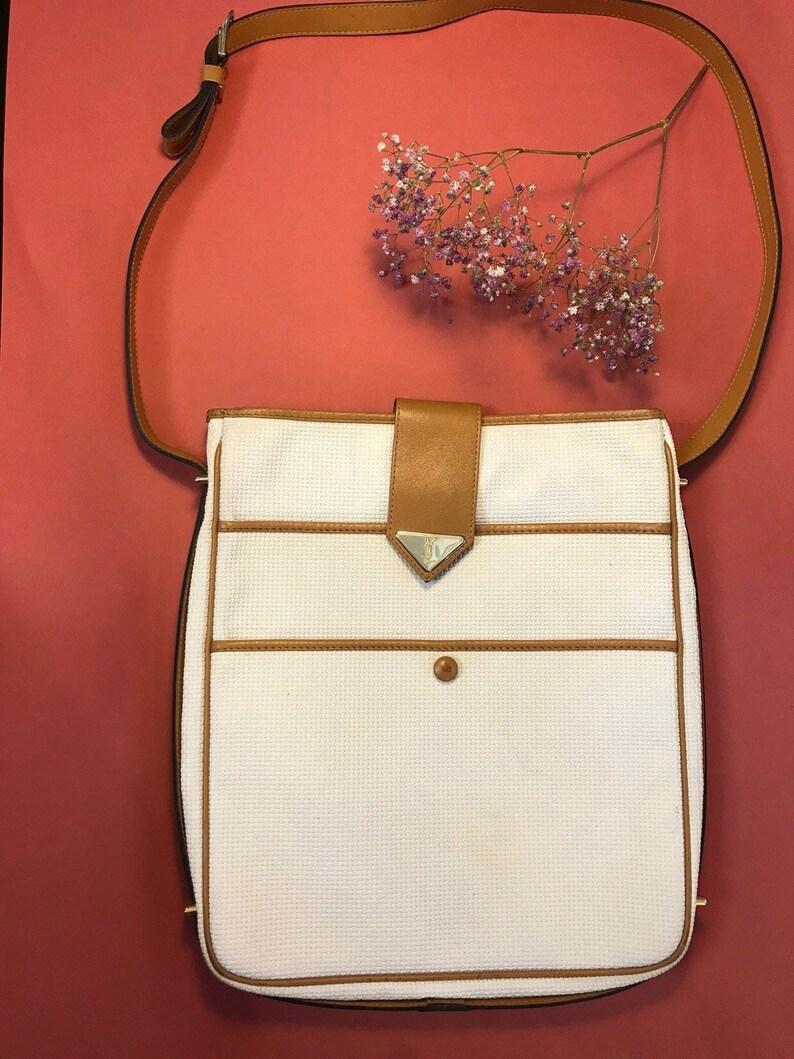 614077c9ca0a Yves Saint Laurent vintage shoulder bag beige pvc fabric and