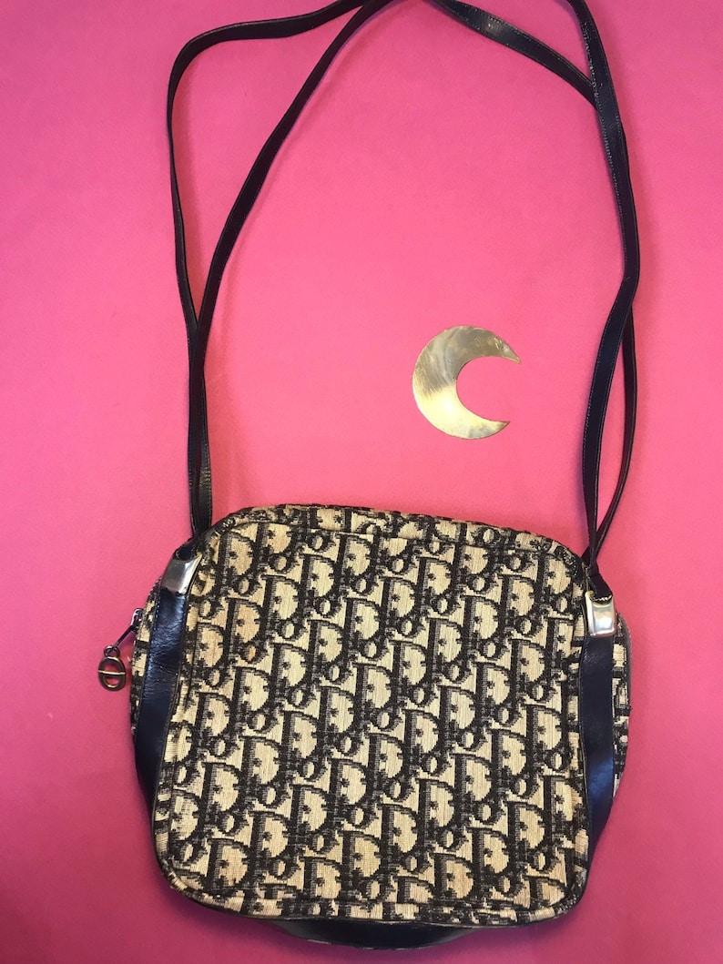 2e2a57249944 Christian Dior vintage shoulder bag canvas and leather blue