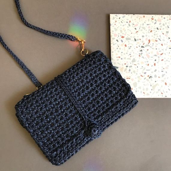 Vintage 60's bag, Crochet vintage clutch , blue ny