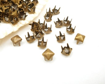 24 sets of solid brass Gold 12mm pyramid head studs rivets