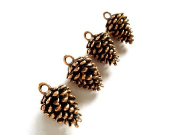 16 Pine cone charms antique bronze tone BC25
