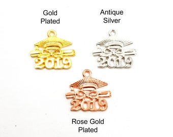 799720708 4 Gold Plated, Antique Silver Or Rose Gold Plated 2019 Graduation Cap Charms  - 27-11
