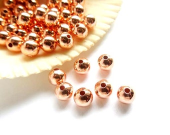 50 Rose Gold Plated Spacer Beads - 6mm - 28-22