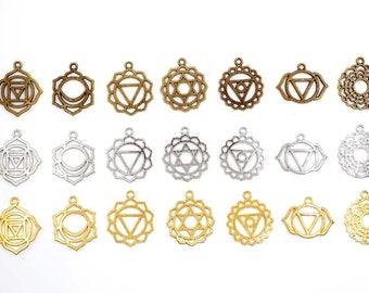 Set Of 7 Antique Bronze, Antique Silver Or Antique Gold Chakra Symbol Pendant/Charms - 35-3