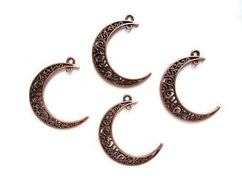 4 Antique Copper Crescent Moon Charm/Connectors - 4-CMC-7