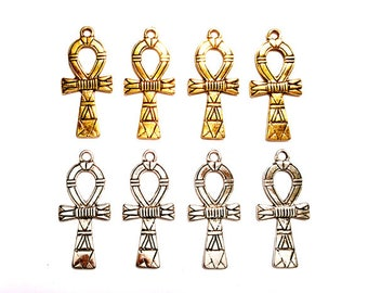 4 Antique Gold Or Antique Silver Ankh Pendant/Charms - 32-60