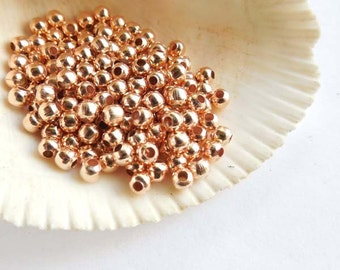 100 Rose Gold Plated Spacer Beads - 4mm, Jewelry Making - 28-23