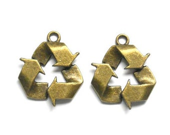2 Antique Bronze Recycle Symbol Charms - 21-58-4
