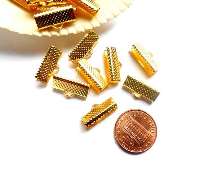 16mm 20 Gold Plated Crimp Ribbon Ends 5-9