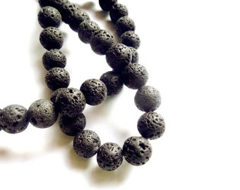 40 Black Lava Stone Beads - 8mm - 26-32-B