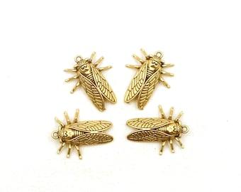 4 Light Antique Gold Cicada Charms - 39-26