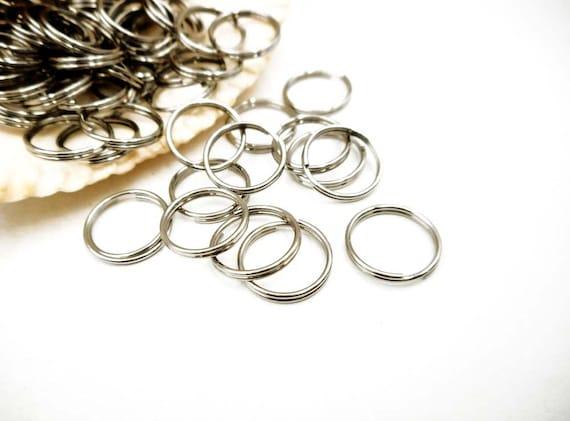 100 Gunmetal 12mm Round Double Loop Split Ring Jewelry Findings Plated Over Steel