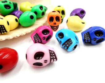 20 Assorted Skull Spacer Beads -13-18