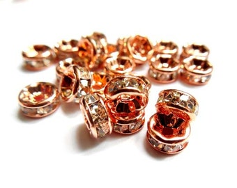 20 Rose Gold Plated Rondelle Crystal Spacer Beads - 6mm or 8mm- 22-34-4