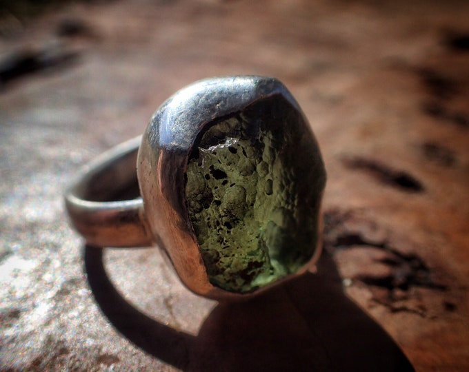 Featured listing image: Moldavite and Silver Ring ~ US size 7